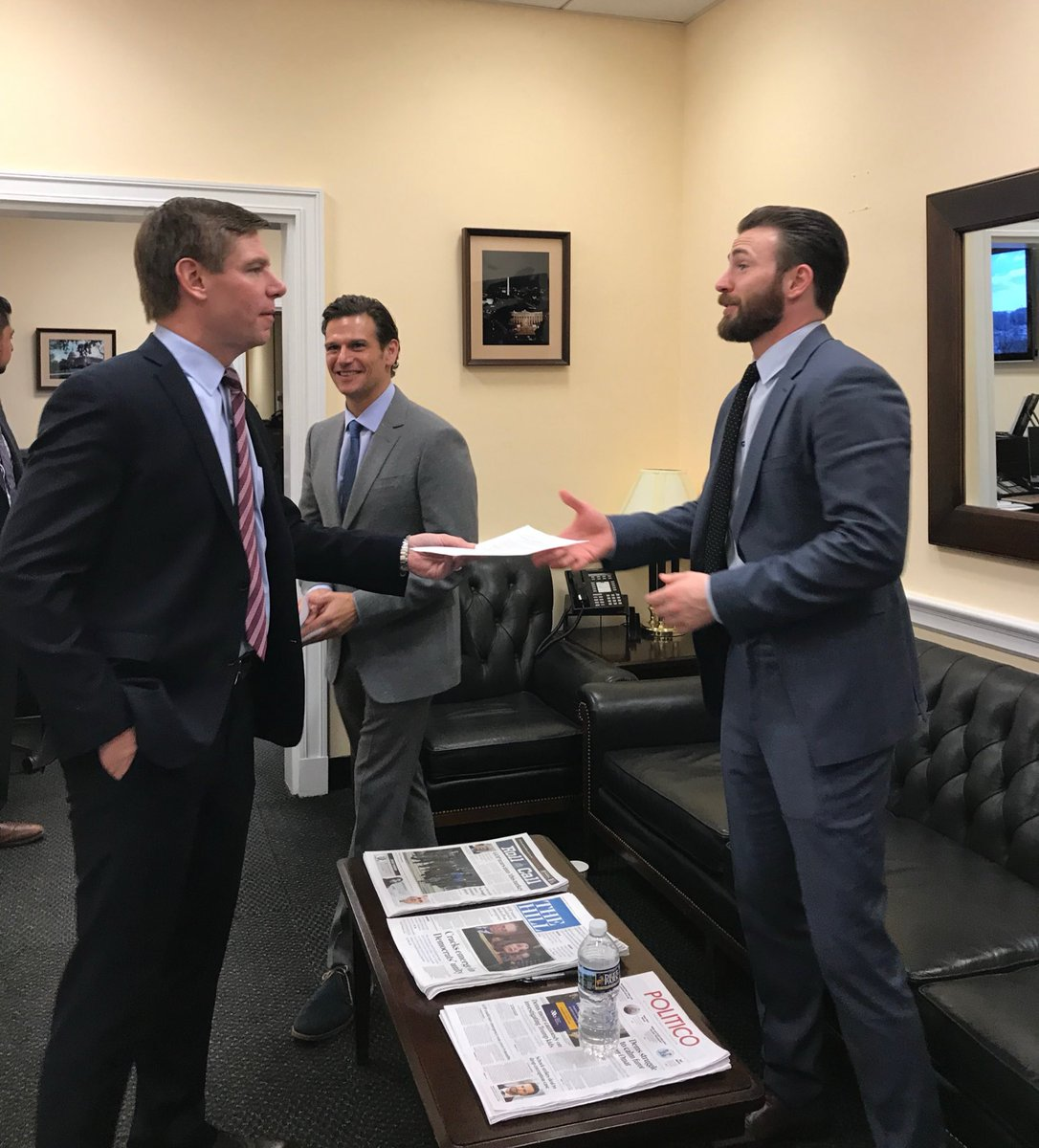 "Senator Eric Swalwell said ""(I) was thrilled to be interviewed by @ChrisEvans for his new civic engagement project, A Starting Point. I like Chris's interview style of straight to the point, no BS, and just the real. Excited to see it launch!"""