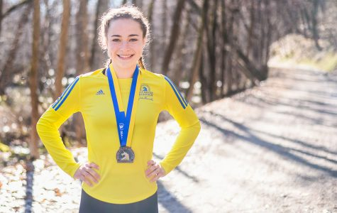 Anne Schreiber said her stress reliever is running, which led her to running in the Boston Marathon.