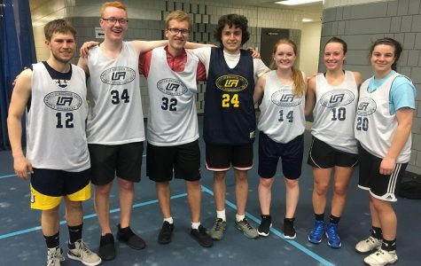 Students can opt to be a part of a co-ed team, pictured above, or join a men's or women's team. Games are held in the evenings, sometimes as late as 10 p.m.