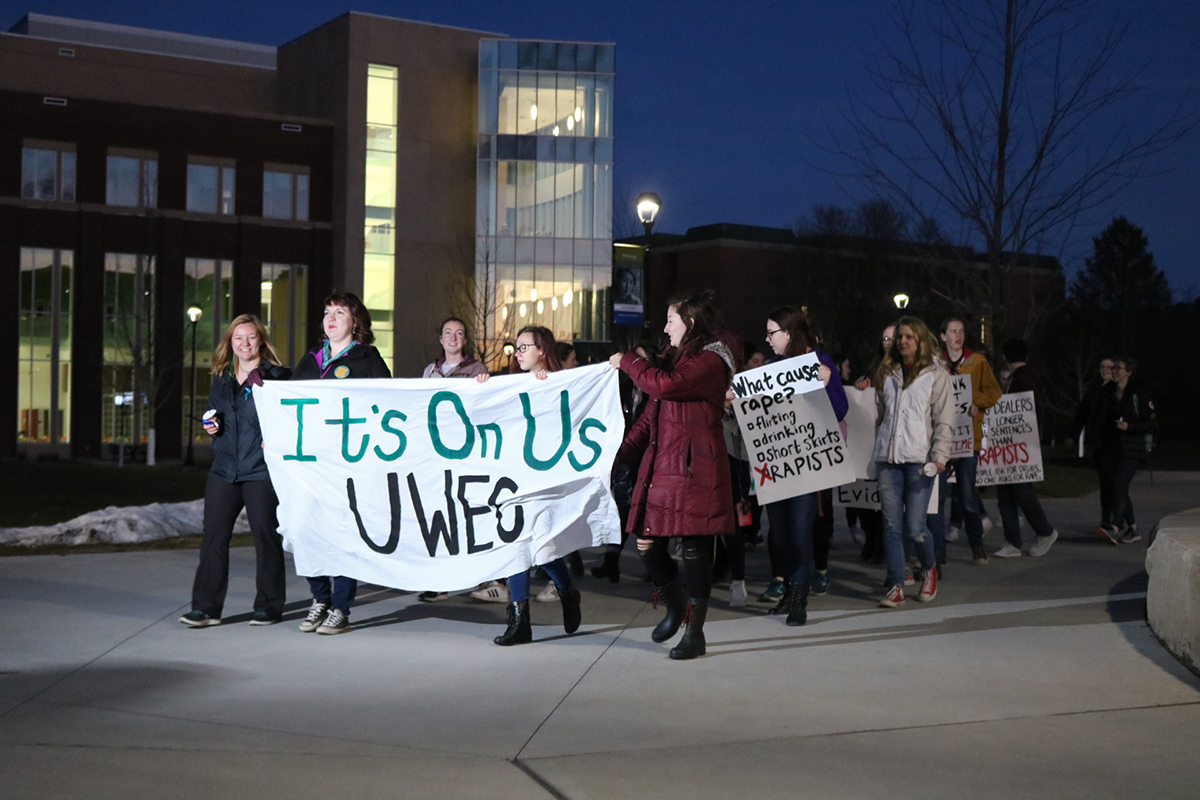 The protesters marched through campus and down Water Street to help spread awareness of sexual assault.