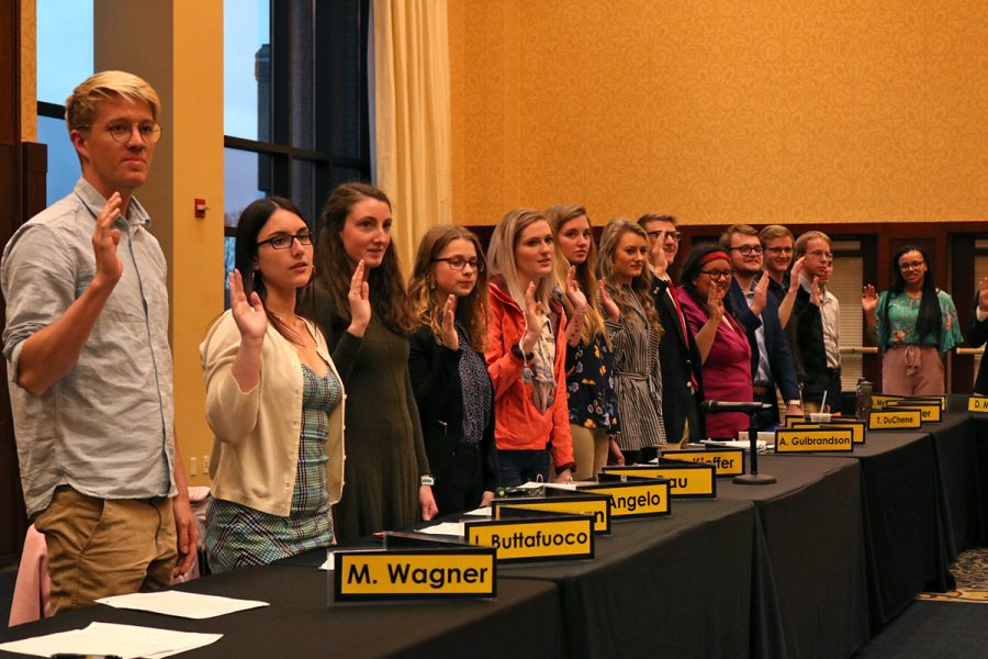 The+newly+elected+members+of+the+63rd+Session+were+sworn+in+during+an+April+meeting+last+spring.+