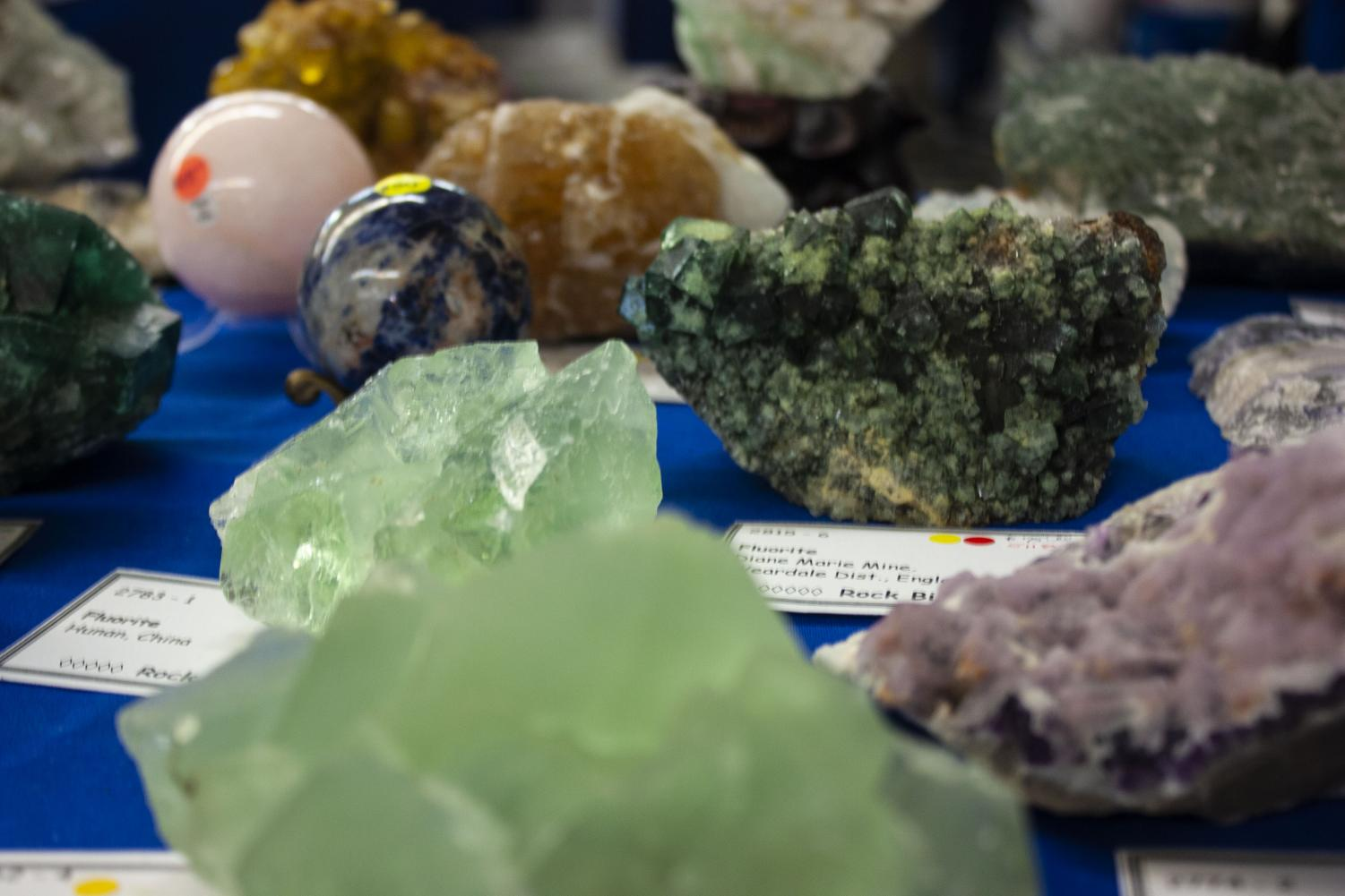 A+table+of+fluorite+and+quartz+pieces+were+left+on+display.+