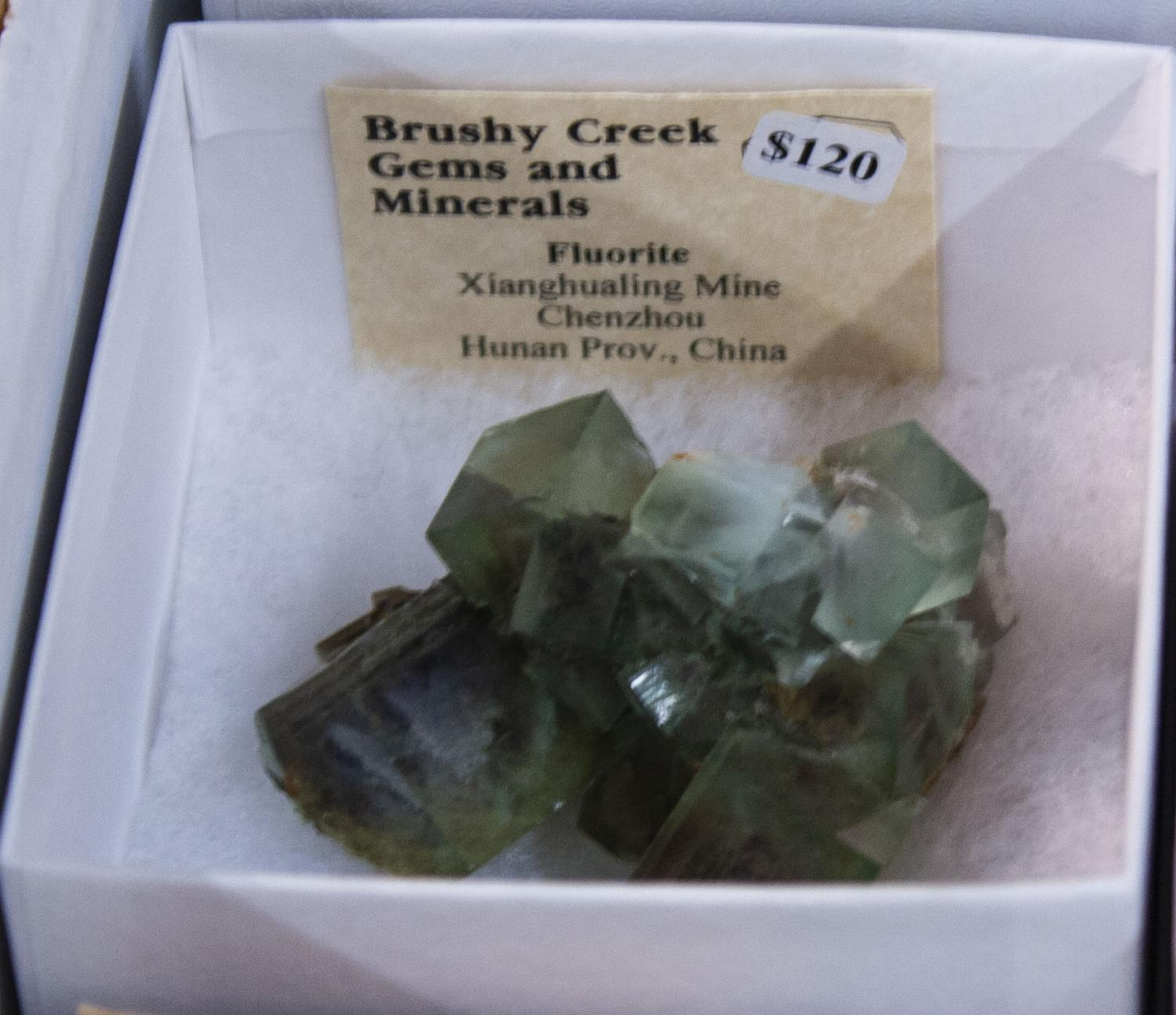 Brushy+Creek+Gems+and+Minerals+displayed+a+piece+of+fluorite+mined+in+China.+