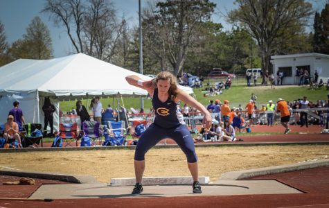 Erica Oawster during the shot put event on May 4 at the WIAC conference finals in Platteville, Wisconsin.