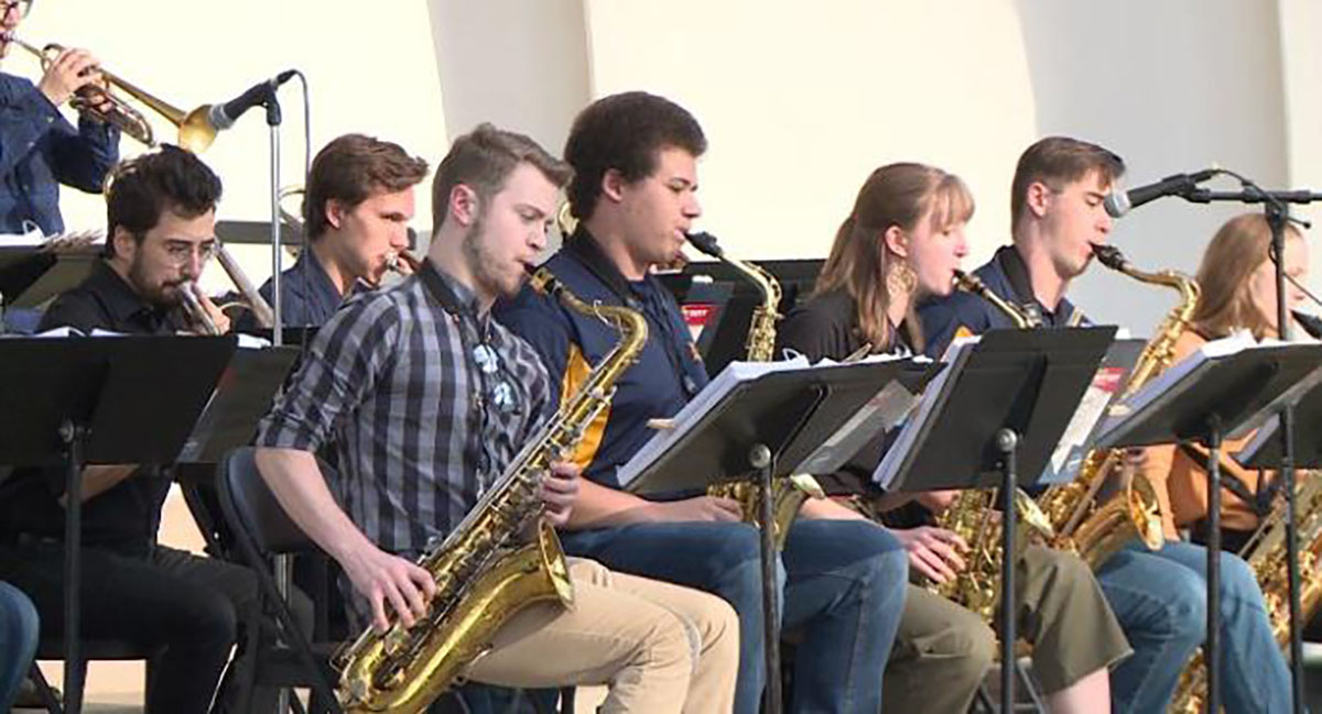 Jazz ensemble group performing for community on May 10 in Owen Park to raise money for Lakeshore Elementary School.