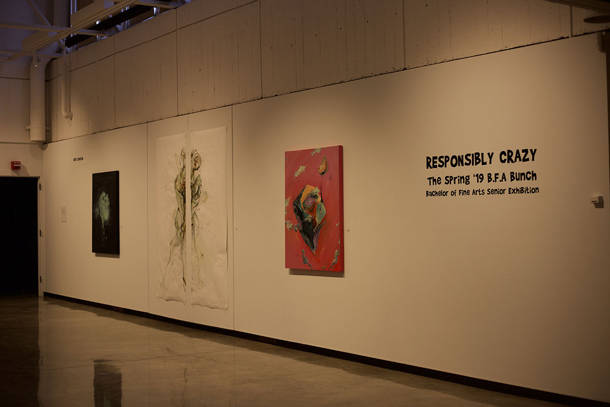The+2019+Spring+Senior+BFA+Exhibition+was+presented+by+six+seniors.+It+was+titled+%E2%80%9CResponsibly+Crazy.%E2%80%9D+