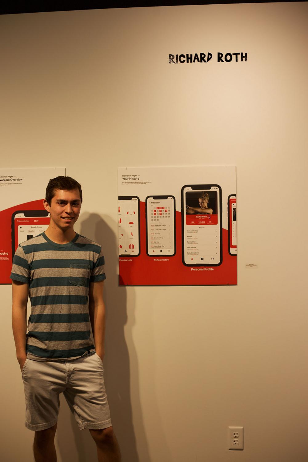 Richard+Roth%2C+a+fourth-year+graphic+design+student%2C+stands+next+to+his+creation%2C+a+UX%2FUI+app.
