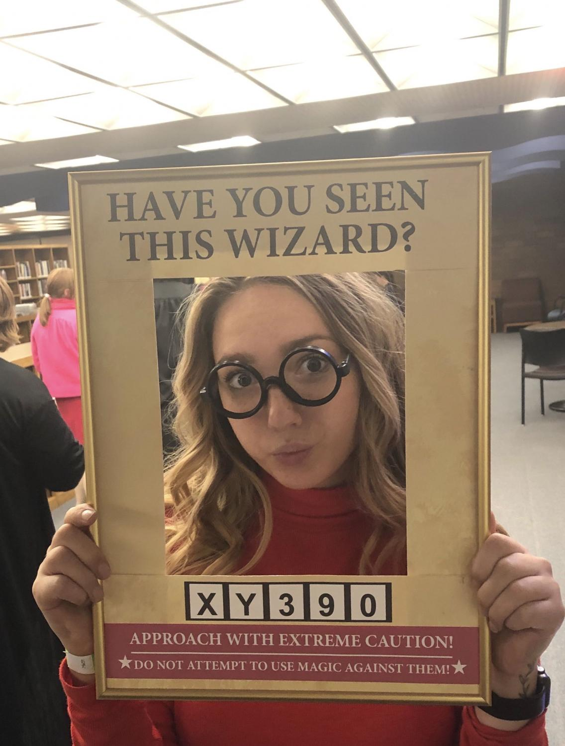Third-year advertising student Violet Doolittle poses for a picture at the Hogwarts Homecoming.