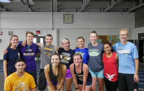 The triathlon club finishes a run at the McPhee Olson center.