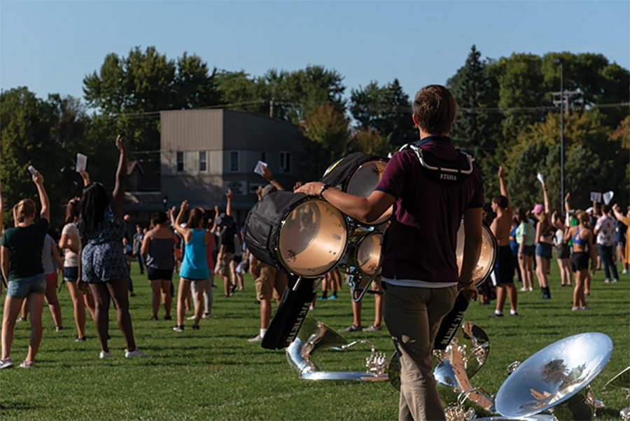 """As the Blugold Marching Band hosts """"The Greatest Show,"""" members of the band prepare new and never-before-seen elements."""