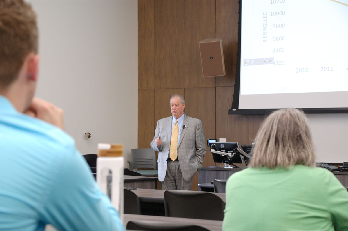 Chancellor James Schmidt speaks to an audience of student leaders, faculty and staff.