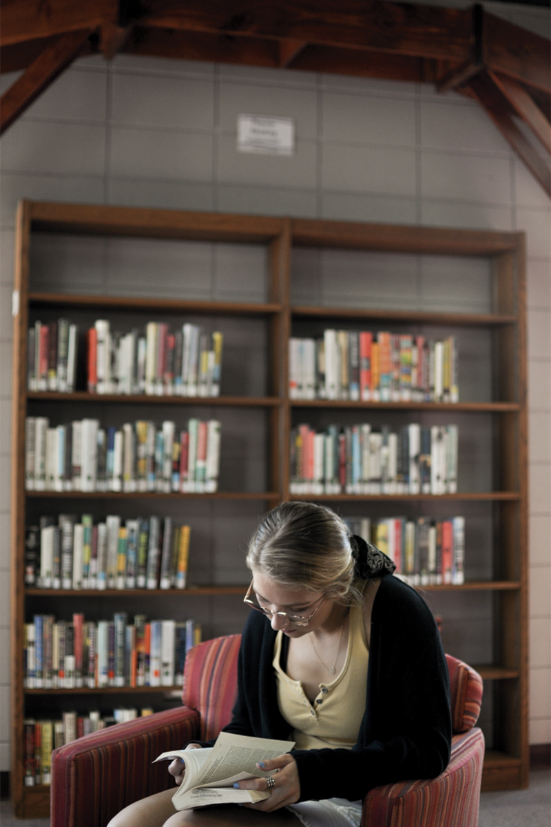The Popular Reading Selection, located on the second floor of McIntyre Library, provides a new read for a UWEC student.