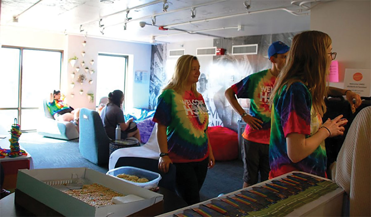 Students enjoy an afternoon in the Rainbow Floor lounge, a floor specifically for LGBTQ students and allies to find an inclusive place to live