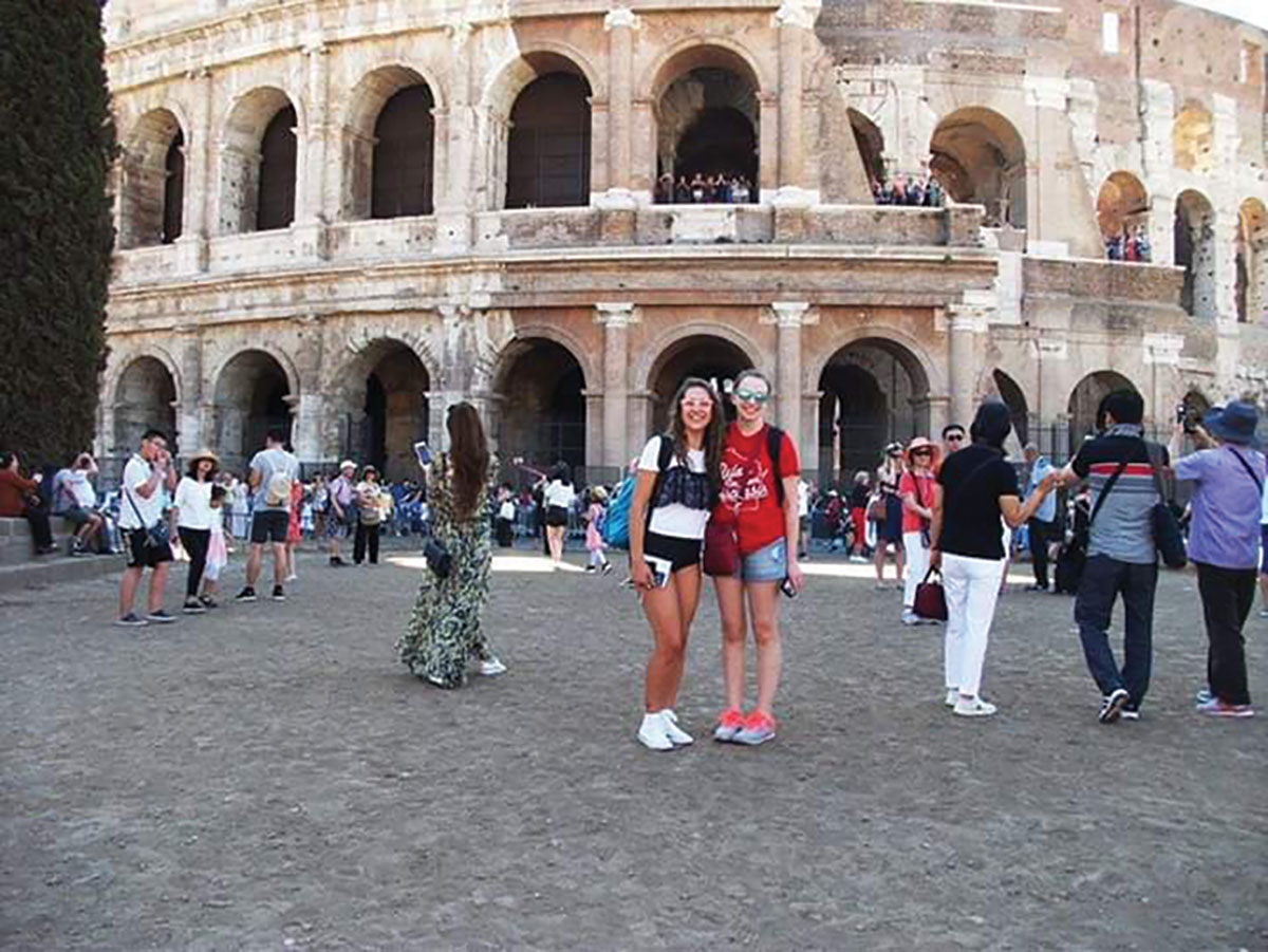 Emily Oehler and new friend, Elena Bertolotti, visiting the famous Colosseum in Rome, Italy.