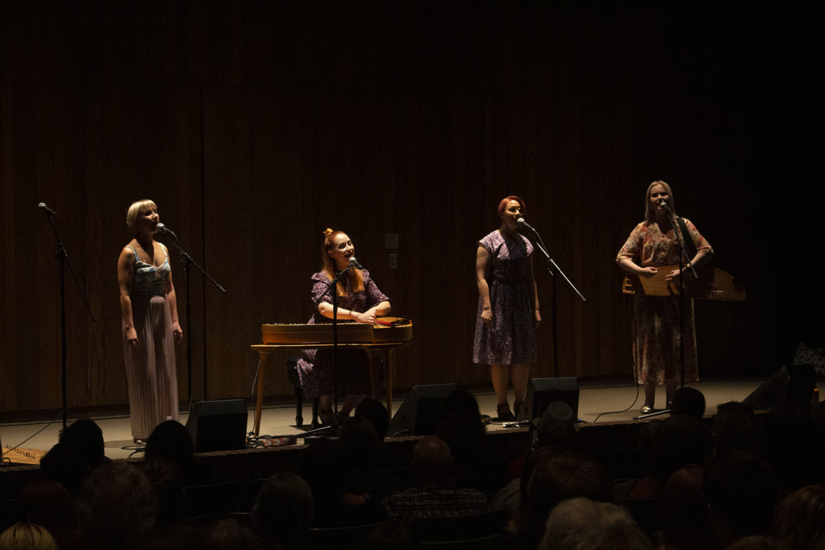 Finnish folk band Kardemimmit serenades the audience at Haas Hall.