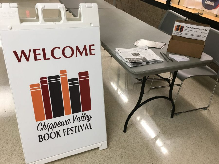The+Chippewa+Valley+Book+Festival+sign+greets+attendees+when+they+go+to+events+hosted+at+the+Pablo+Center%2C+the+L.E.+Phillips+Memorial+Public+Library+and+other+locations+throughout+the+Chippewa+Valley.+