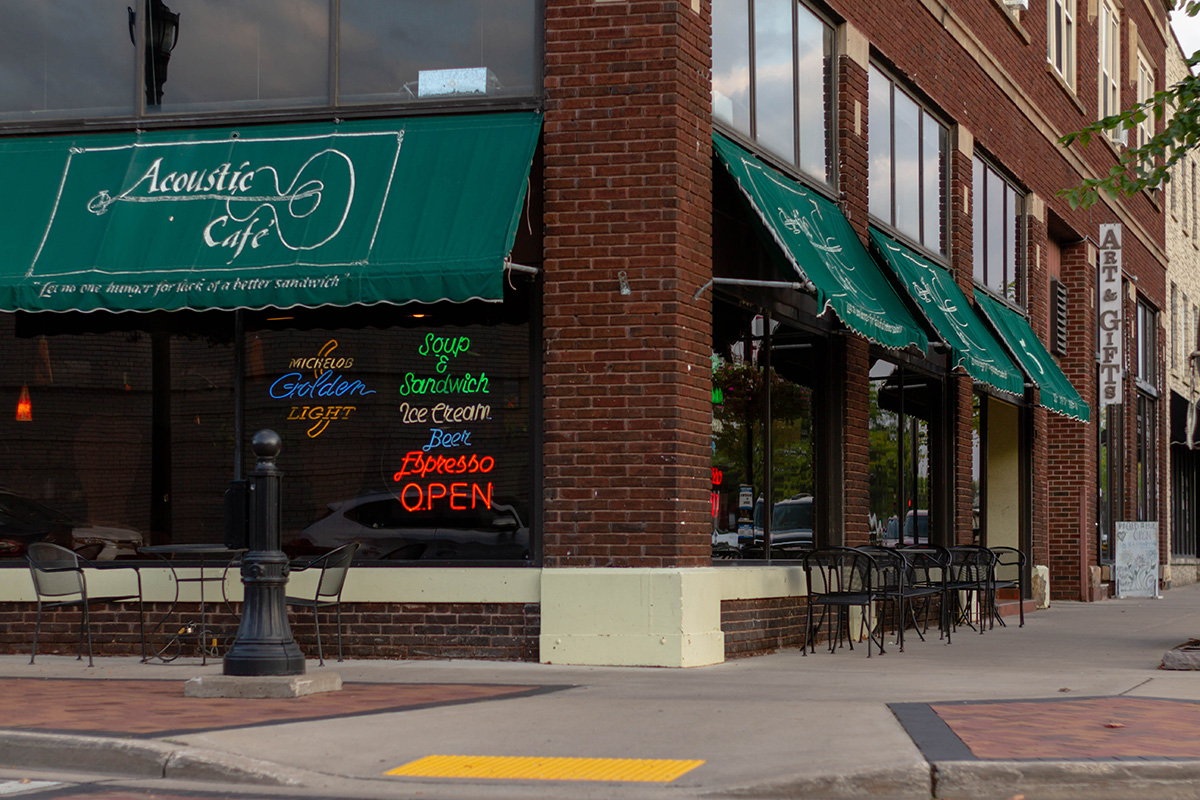 The Acoustic Café is located on Barstow Street in downtown Eau Claire. The shop is known to have versatile seating arrangements alongside a rotating drink and pastry menu.