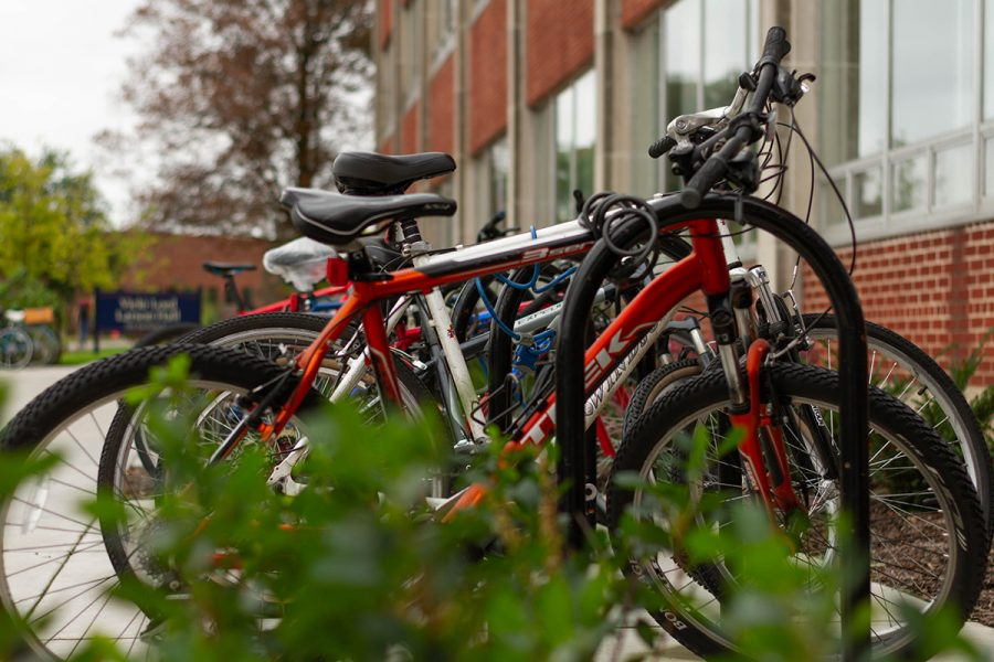 Bicycles fill the bike racks outside of Hibbard.