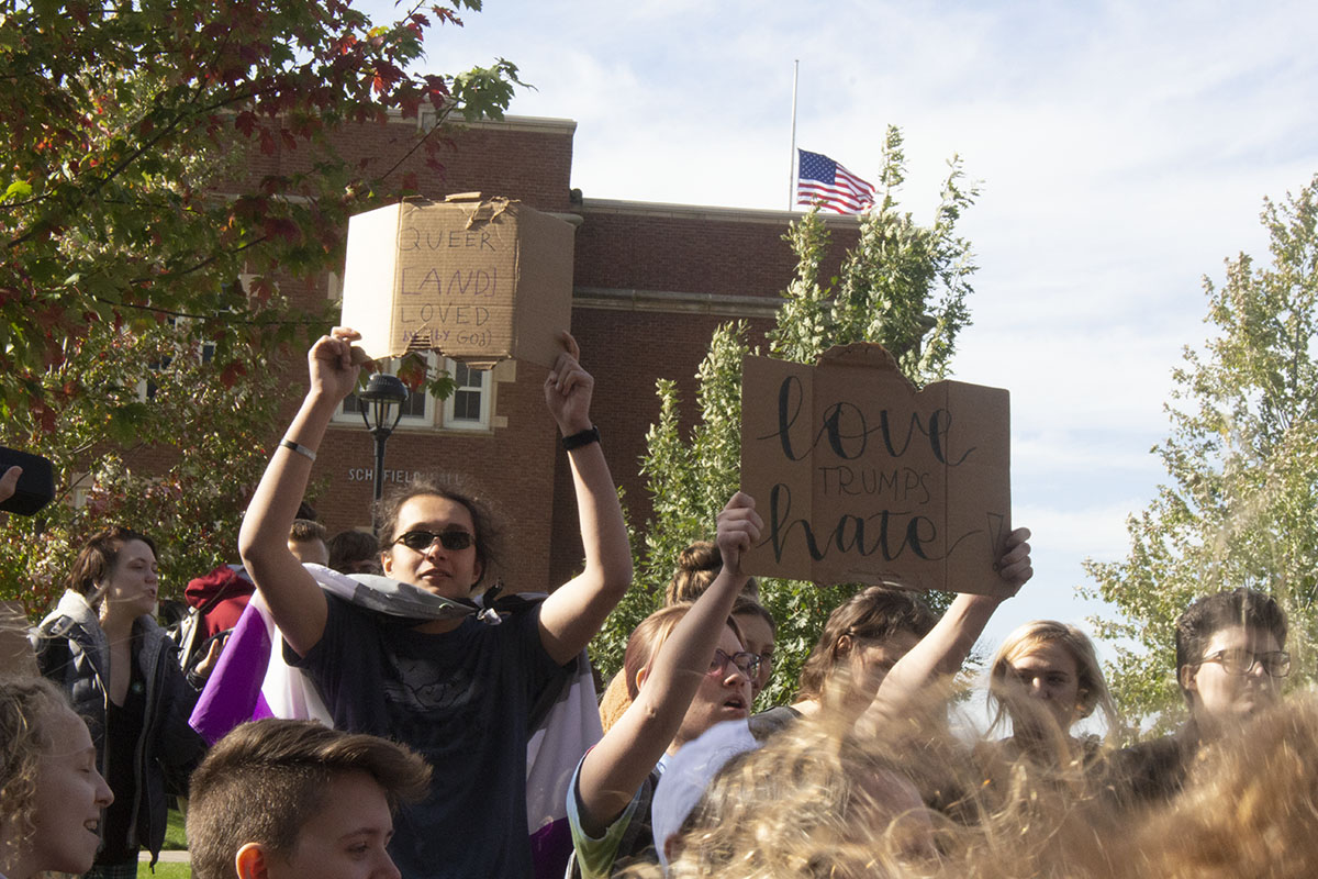 Students made cardboard signs to hold up to counter the protesters' signs