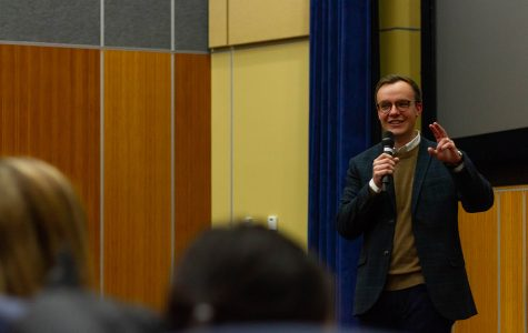Chasten Buttigieg, a UW-Eau Claire alumnus and husband of Democratic presidential candidate Pete Buttigieg, spoke to students about his husband's campaign.