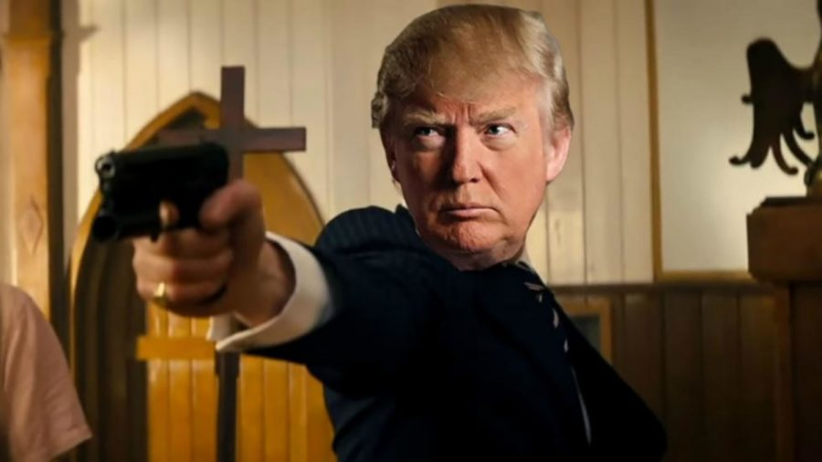A parody video depicting President Donald Trump as a mass shooter was aired at a pro-Trump conference in his Miami resort.