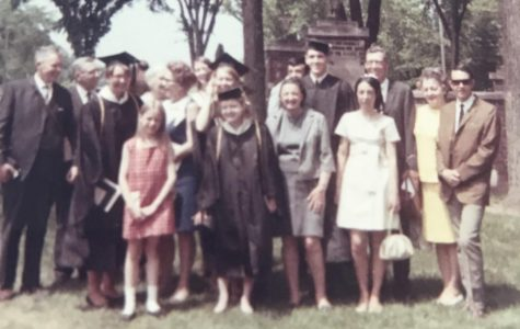 Cutler (center) graduating cum laude from UWEC on May 22, 1969.