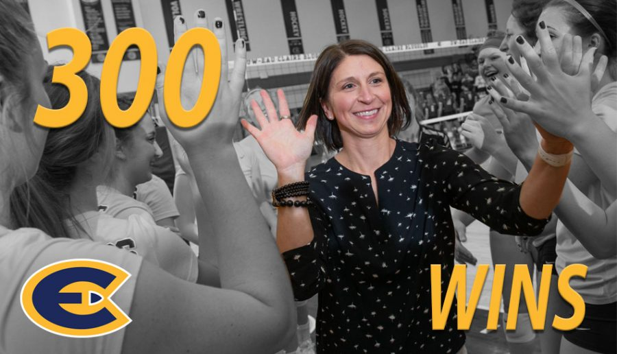 Women's volleyball head coach Kim Wudi gained her 300th career win after the Blugolds defeated the Pointers.