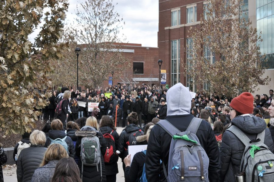 Hundreds+of+students+gathered+for+the+silent+walkout+at+2%3A10+p.m.+on+Nov.+25+at+the+circle+outside+of+Schofield+Hall.