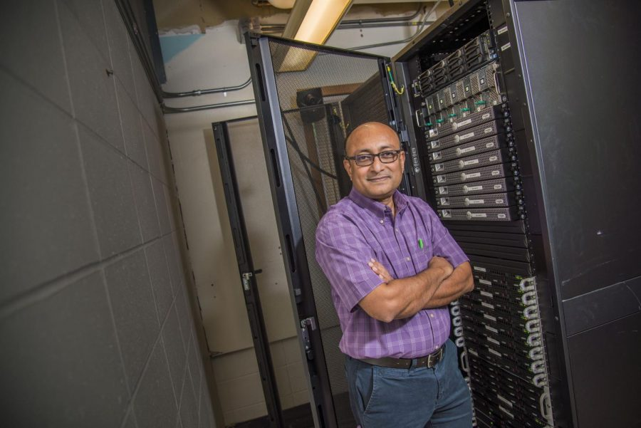 Bhattacharyay stands by the current Blugold Supercomputing Cluster.