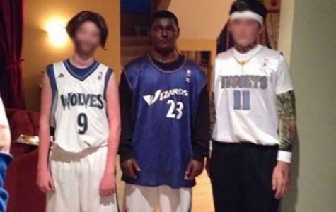 An alleged photo of Bryson Wilkins (center) from high school wearing blackface surfaces as investigation into the racially charged Snapchat group chat in the Blugold football team continues.