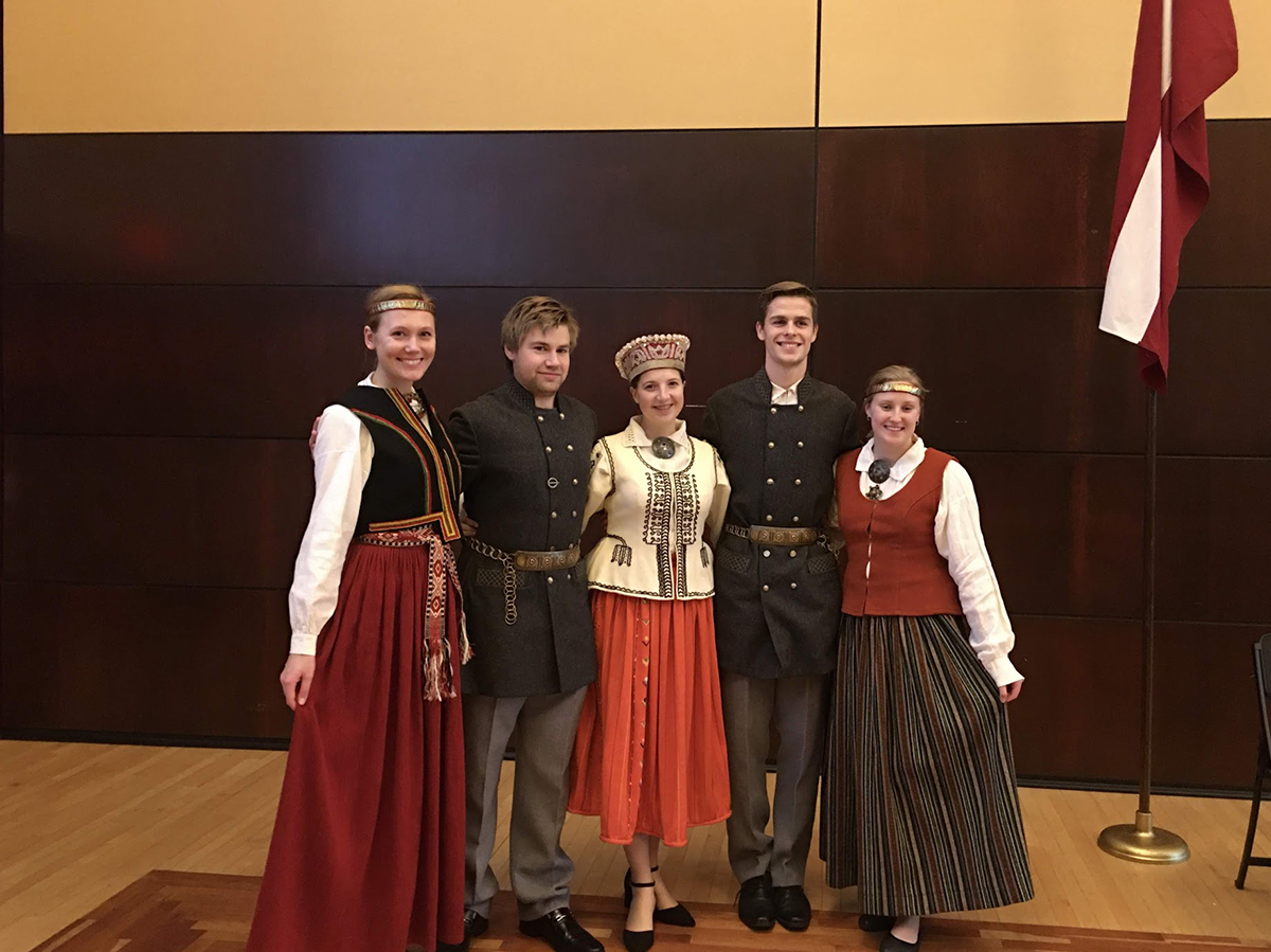 Members of the Baltic Student Organization dressed in traditional Latvian costumes  Left to right: Zane Klavina, Michael Carini, Una Arbidane, Valts Blukis and Samantha Strelnieks