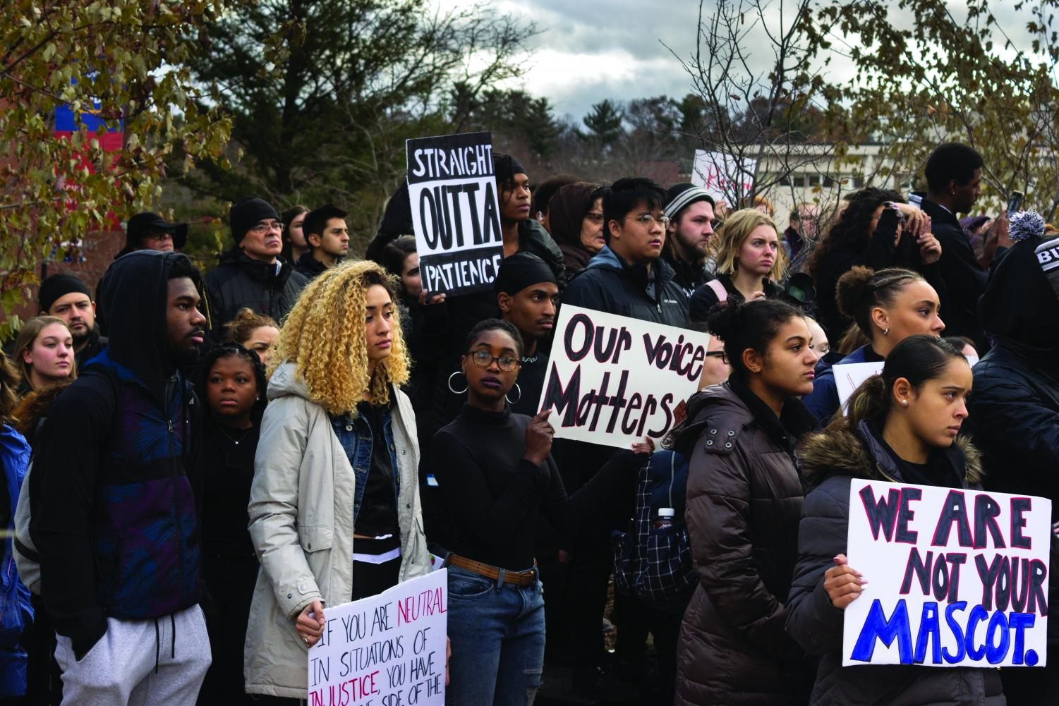 Students gathered outside Schofield on Monday following an organized classroom walk-out in order to protest the racist Snapchat conversation.