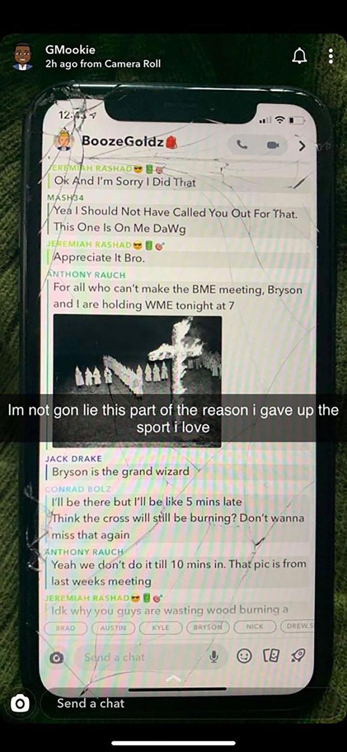 Images of a Snapchat group chat depicting a racist interaction between UW-Eau Claire football players were released on Tuesday.