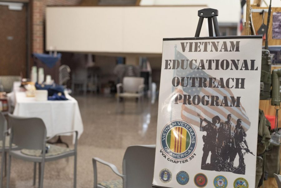 On Nov. 11, UW-Eau Claire welcomed Veterans from the Appleton area to the Haas Fine Arts building to set up a display of artifacts from their services in Vietnam.