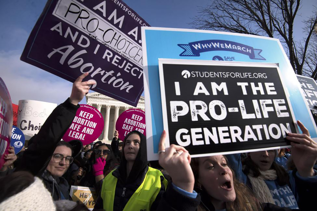 Protesters rally in the Alabama capital protesting the Alabama Abortion Ban.
