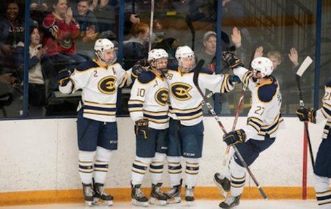 Men's hockey wins both games against Stout
