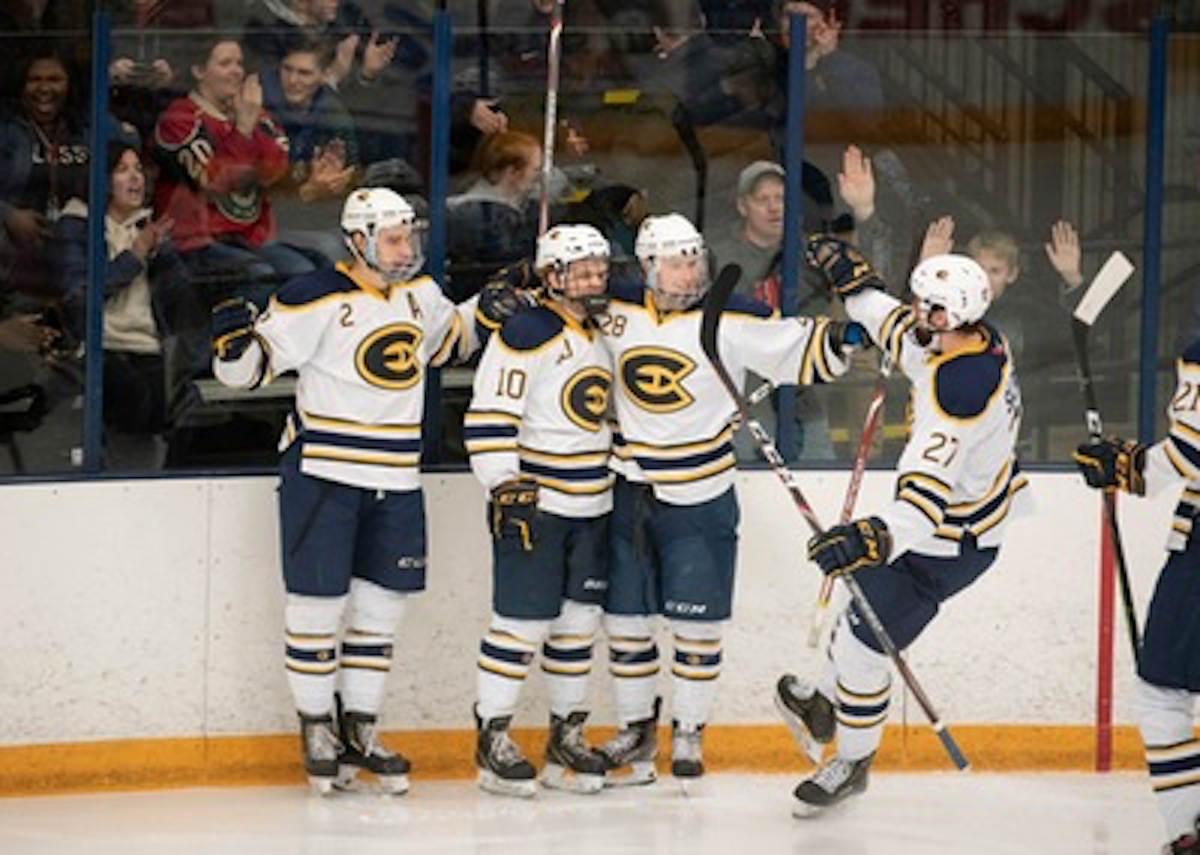 (From left to right) Jake Bresser, Andrew McGlynn, Max Salpeter and Jon Richards celebrate a goal.