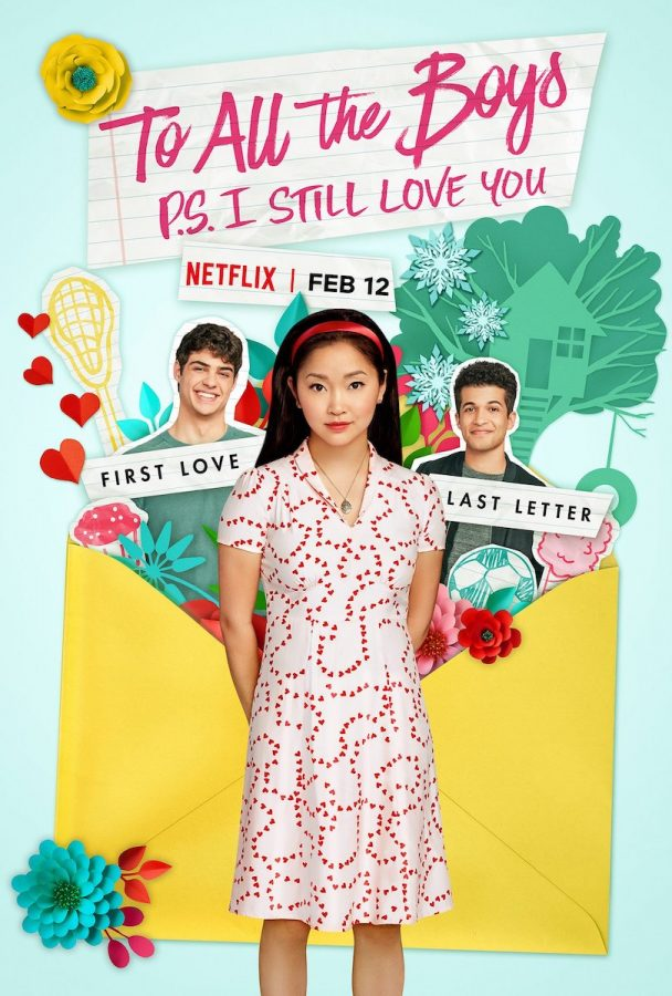 In a movie poster, a teenage girl in dress stands in front of two teenage boys.