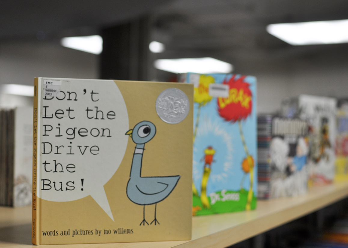 """It is common for children's books, such as """"Don't Let the Pigeon Drive the Bus, to be checked out from the McIntyre Library."""