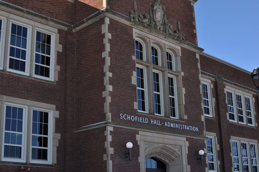 Schofield Hall, an older brick building on the UW-Eau Claire campus.