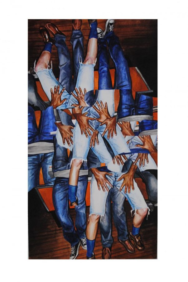 Hands, by Melissa Wilkinson, is one of the pieces displayed in the gallery. Wilkinson used watercolor on paper to create the image.