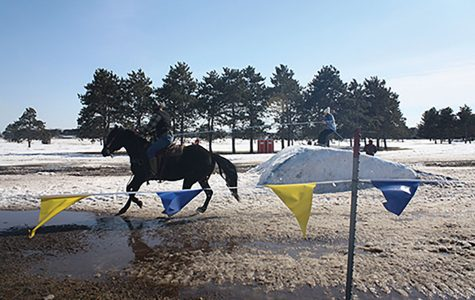 "Skijoring, which is derived from the Norwegian word ""ski driving,"" originated back when animals were still used as a basic form of transportation. The event involves a skier, rider and a horse."
