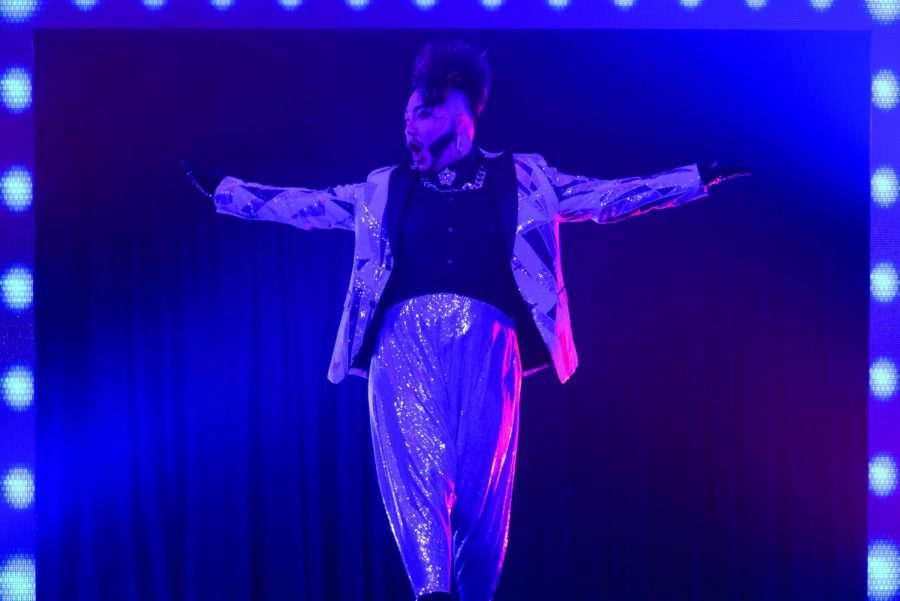 During the annual event Fire Ball, a drag show where all of the proceeds fund the Gender & Sexuality Resource Center at the UW-Eau Claire, drag king Tenderoni preformed.