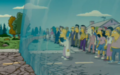 Large cartoon dome contains people.