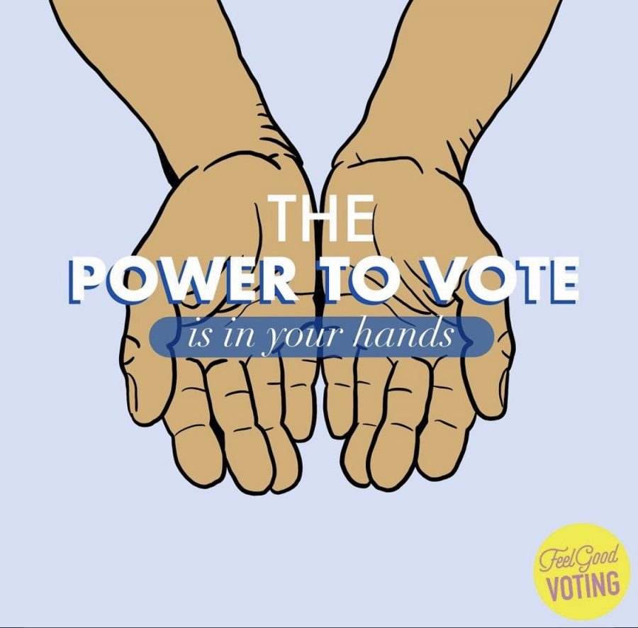 Digital art by the nonprofit organization Feel Good Voting they can be found on instagram @feelgoodvoting
