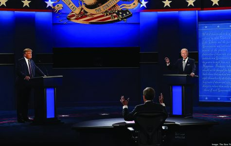Presidential candidates Donald Trump and Joe Biden participate in a debate moderated by Chris Wallace on Tuesday, Sept. 29.