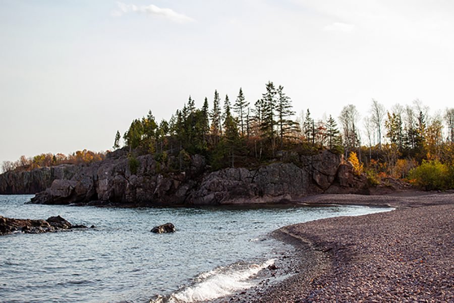 This is one of many cliffs on the shore of Lake Superior.