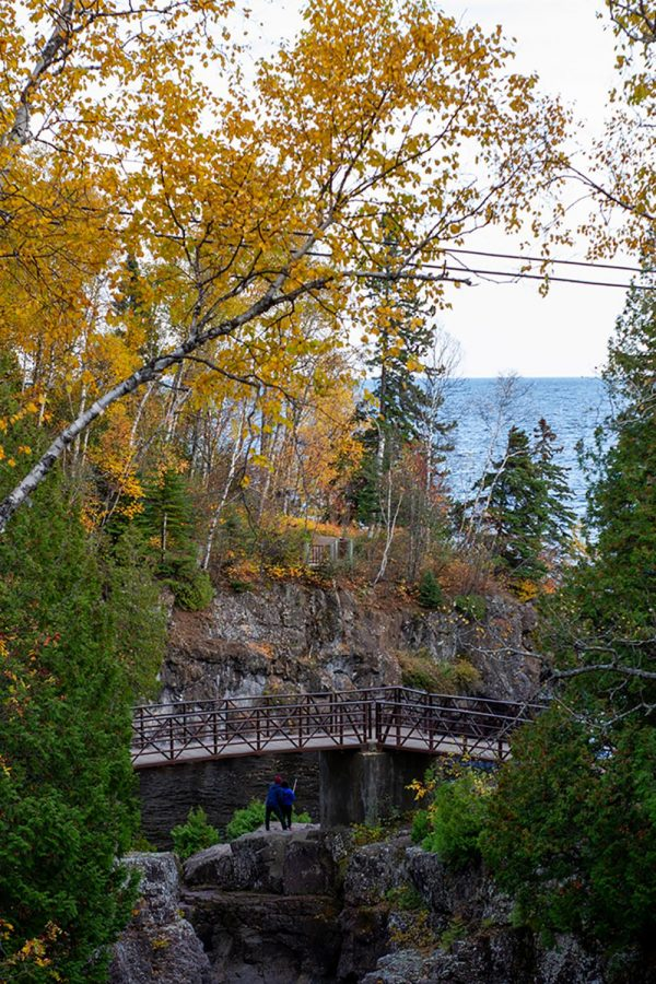 A bridge leads down to the shore in Temperance River State Park, MN.