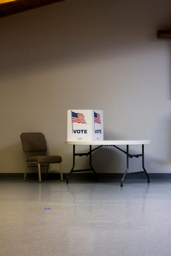 Pictured is one of many voting stations for Eau Claire citizens to exercise their rights to vote.
