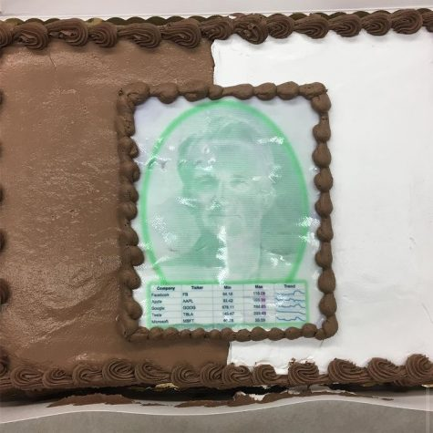 A picture of Edward Tufte, the inventor of trend lines, on a cake that Dr. Paula Lentz brought to one of her business communication classes.